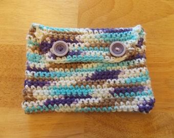 Multi colored crochet makeup case 6.5 in/ 4.6 in.