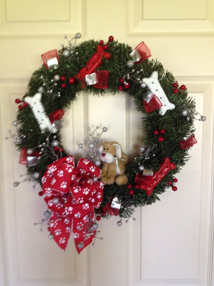 Christmas Wreath Winter Wreath Puppy Wreath Animal Wreath