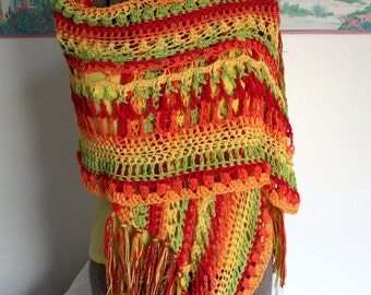 Handmade Crochet Shawl Colorful Bright Yellow Orange Lime Green Cherry Red Chili Peppers Fruit Salad  Lightweight