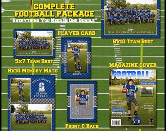 Complete Football Template Package -  Includes: Player Trading Card, Memory Mate, Magazine Cover, Group Shot  Photoshop Templates
