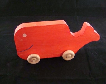 Handmade Wooden Whale Red