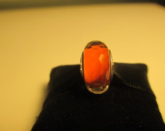 Beautiful Authentic 925 Sterling Silver Fascinating Orange Pandora Bead Charm