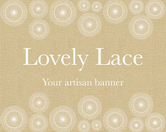 Rustic shop banner set, brown banner, ivory lace, instant download