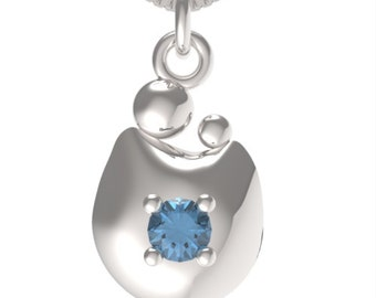 "Birthstone December Blue Zircon Sterling Silver MOM&CHILD pendant with an 18"" Sterling Silver Necklace"