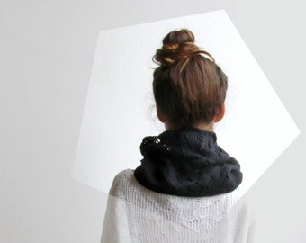 Black scarf / Knit tube cowl / Cotton cowl / Vegan fashion / Urban clothing