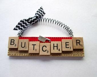 Butcher Scrabble Tile Ornament