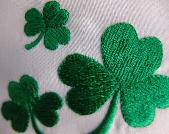 St. Patrick's Day Irish Green Lavender Pillow Sachet with Three Embroidered Shamrocks Lavender Bag