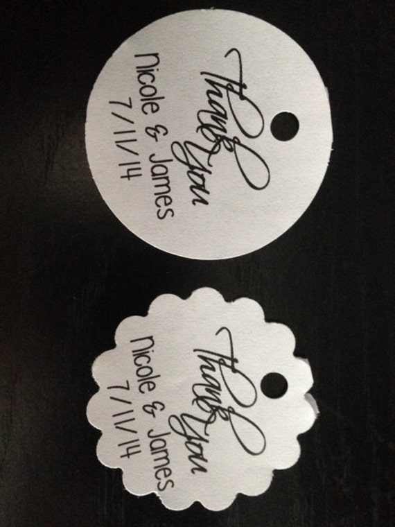 Round Wedding Gift Tags : PERSONALIZED Round Wedding Thank You Favor Gift Tags Hang Tags