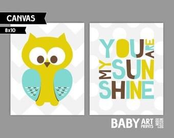 Modern Nursery canvas art, Set of 2 8x10. Owl, You are my sunshine ( S810183 )