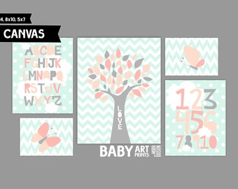 Baby Girl Nursery canvas art prints, Set of 5, Alphabet, Numbers, Tree, Butterfly ( MS015 )