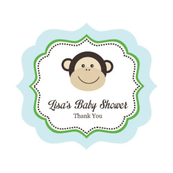 Items similar to monkey birthday party decorations favor labels boy monkey baby shower favors - Monkey baby shower favors ideas ...