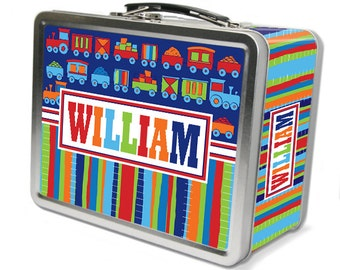 "Trains ""Retro"" Personalized Lunch Box"