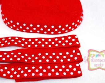 SALE Red White Polka Dot Fold Over Elastic 3 yards #S155