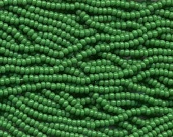 Seed Beads, 11/0, 6 String Hank, Mini Hanks, Op Green, Value, Glass Beads, 18 Grams, Appox. 1000 Beads, #0022