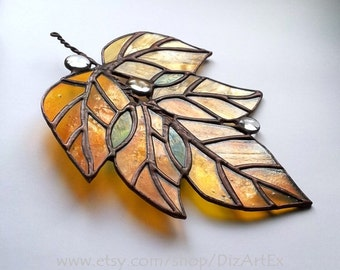 "Stained Glass Pendant ""October"". Handmade. Home decor. DizArtEx. Made to order."