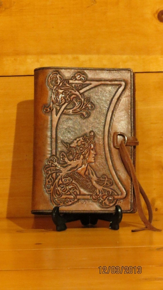 leather book cover hand carved tooled and stitched