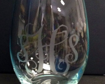 Set of 2 Monogrammed Etched Wine Glasses-Stemmed or Stemless