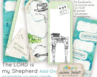 The LORD is my Shepherd printable bookmarks or journal cards, pocket envelopes and bookplates, coordinates with journal kit sold separately