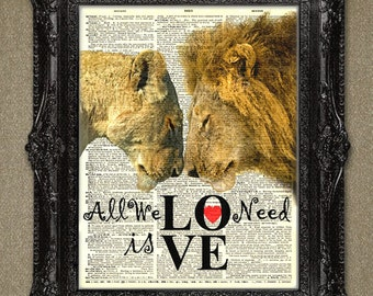 Lions In Love Dictionary Art Print. Your personal message can be added for gift or wedding gifts. Animals in love dictionary page at print.
