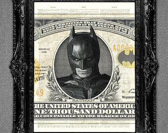 Batman-Dictionary art print.One of a set of four. See our other comic book superheroes - you can buy 3 get the 4th print FREE!