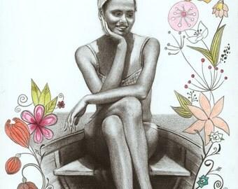 My Mother at Lake Balaton in 1968 – Art Print from Original Pencil Drawing