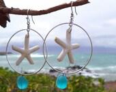 Starfish Earings w/  sea glass