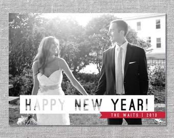 Photo Holiday Card   DIY Printable or Printed   Happy New Year   5x7