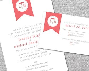 Printable Wedding Invitation and Reply Card | 5x7/3.5x5