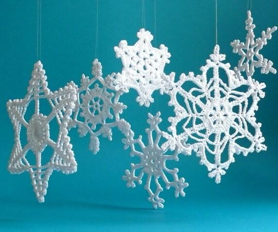 Large crochet snowflake ornaments white crochet snowflakes for Big snowflakes decorations