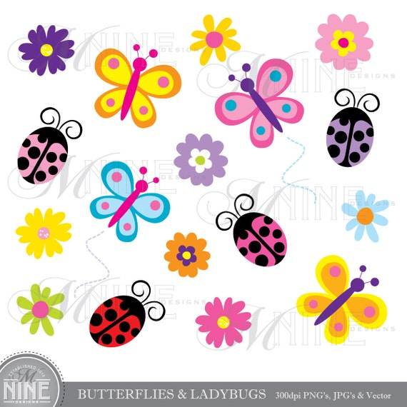 BUTTERFLIES  amp...Spring Insects Clipart