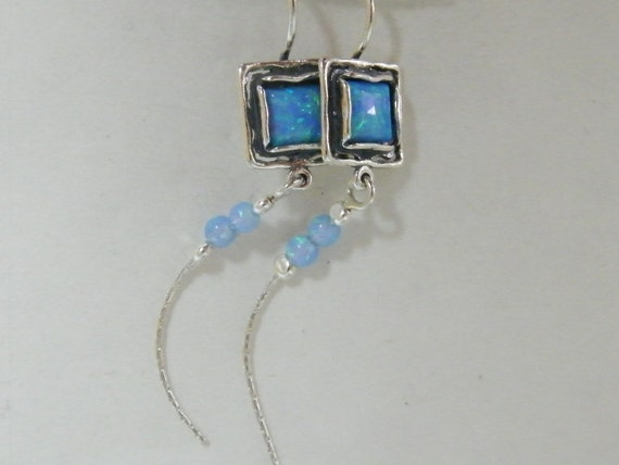 Amazing New Handcrafted Blue Opal Sterling Silver 925 Earrings