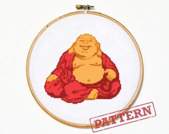 Happy Buddha Cross Stitch Pattern