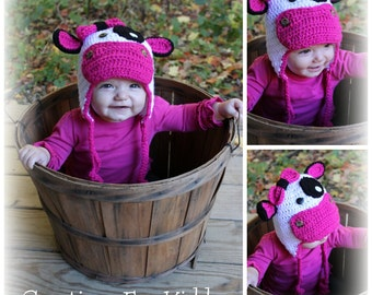 Crocheted Girly Cow Hat
