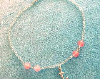 Cherry Quartz Anchor Anklet