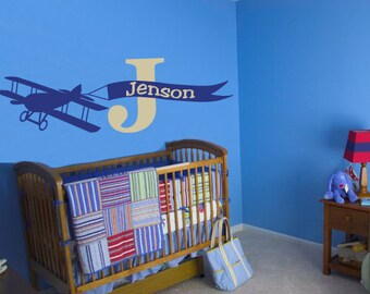 Vintage Plane Wall Decal Personalized with Name