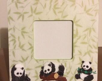 3x3 Panda with Bamboo Frame  FREE Shipping