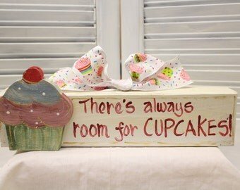 Cupcakes Hand Painted Wood Block