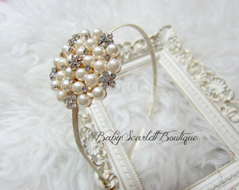 Ivory/Cream Rhinestones Baby Hard Headband,Bridal,Toddler,Girl Hard Headband
