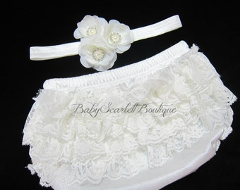 Off White Baby Girl Lace Ruffle Bloomer,Diaper Cover and Headband Set