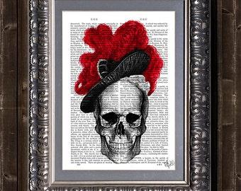 Skull with Red Hat - skull Illustration skeleton print skull print gothic decor gothic print skeleton illustration gothic wall art