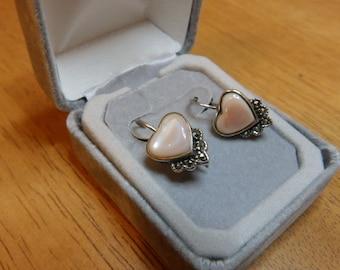 925 Sterling Silver Pink Glass Heart Earrings  JEWELRY SALE