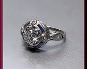Antique Vintage Art Deco 18K White Gold Diamond Engagement Ring