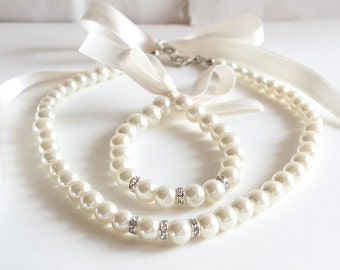 Ivory Flower girl jewelry set pearl necklace bracelet set ivory satin ribbon wedding gift junior bridesmaid pearl bracelet wedding party