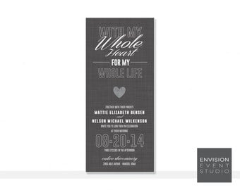 Gray Heart Wedding Invitation Ensemble