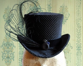 Victorian Tea-Party Mini Top Hat - Striped Velvet Neo-Victorian Mini Top Hat Riding Hat - Made to Order