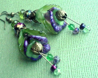Purple and Green Lucite, Blue Lucite Flower Earrings, Lucite Earrings, Blue Earrings, Flower Earrings, Dangle Earrings, Summer Earrings
