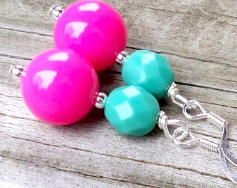 Alegrea - GORGEOUS 12mm Round Hot Pink and 6mm Round Multifaceted Turquoise Czech Glass Gemstone Silver Dangle Fish Hook Earrings
