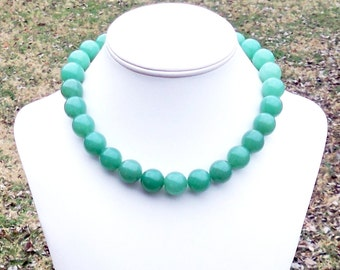 Meghan - Chunky 16mm Round Apple Green Jade Beaded Gemstone Necklace