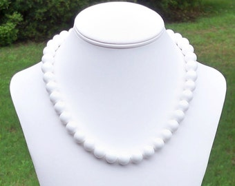White Bead Necklace White Round Bead Necklace White Seashell Necklace 12mm Round White Sea Shell Gemstone Beaded Necklace - FLAWLESS BEADS