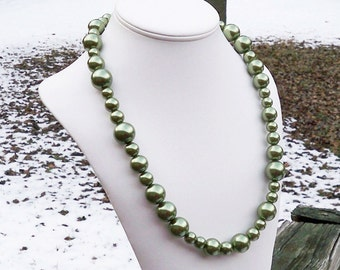 Denny - Long Chunky Metallic Green Glass Pearl Beaded Necklace